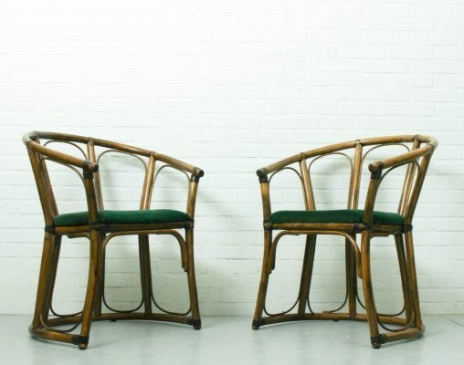 Mid-Century Modern French Riviera Bamboo Armchairs, 1960s