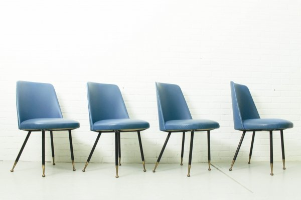 Set of 4 elegant italian dining chairs with brass feet, 1950s