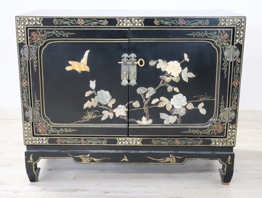 Vintage Lacquered Wood Small Cabinet with Chinoiserie Soapstone Decorations
