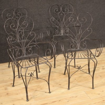 Group of 4 Iron French Modern Outdoor Armchairs, 1980