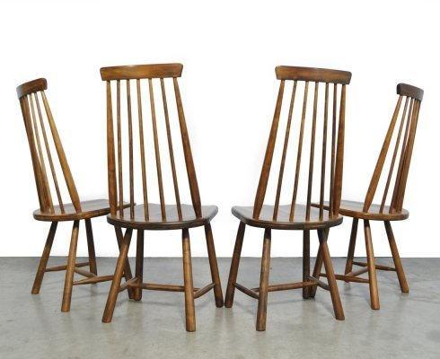 Set of 4 Scandinavian ash wood bar chairs with high back, 1970s
