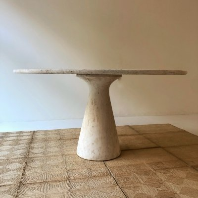 Large 1970s travertine dining table