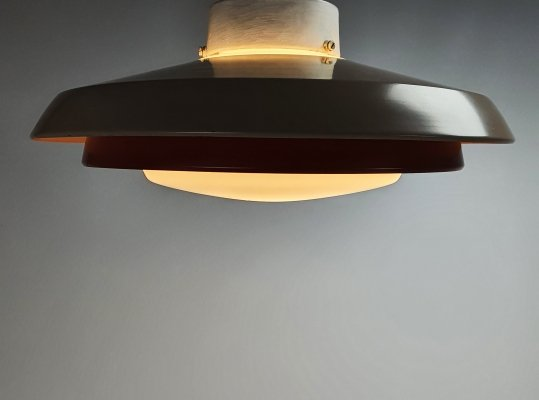 Mid Century Philips Ceiling Lamp with Opaline Glass, 1960s