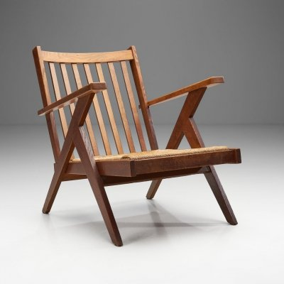Dutch Lounge Chair with Woven Rush Seat, The Netherlands 1950s
