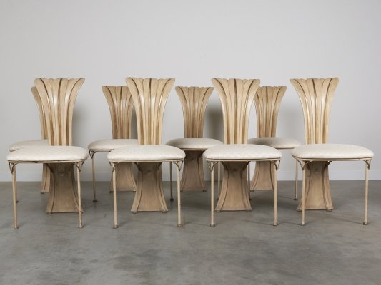 Set of 8 vintage High back Hollywood Regency dining chairs, 1970s