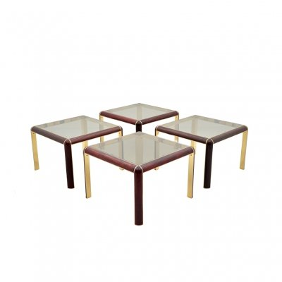 4 x Mahogany, Brass & Glass Side Table, 1980s