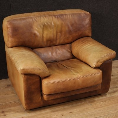 20th Century Leather French Modern Armchair, 1980