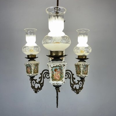 Vintage porcelain & brass chandelier with 3 lights, Italy 1950s