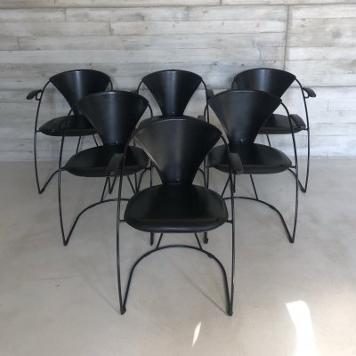 Set of 6 black leather 'Armlinda' dining chairs by Arrben Italy