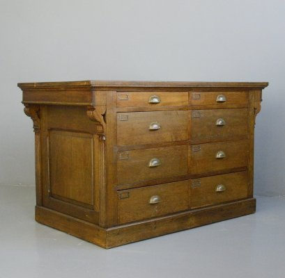 Carved Oak Shop Counter with Drawers, Circa 1910