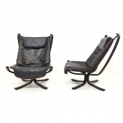 Lounge chairs 'Falcon' by Sigurd Ressel in leather