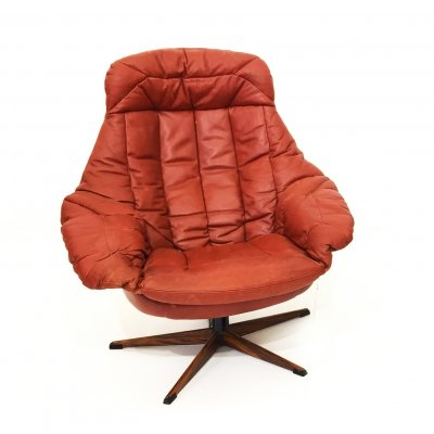 'Silhouette' lounge chair by Henry Klein in cognac leather