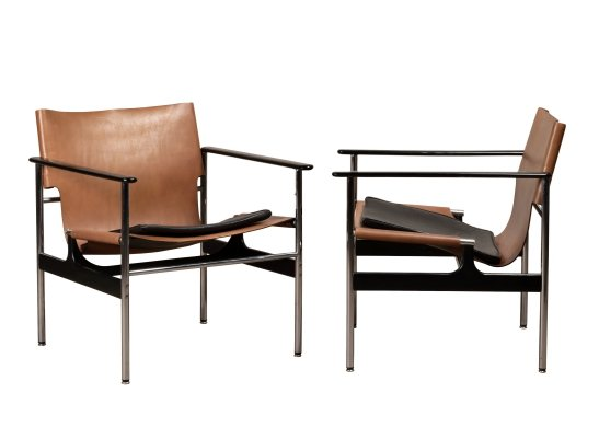 Pair of Model 657 arm chairs by Charles Pollock for Knoll, 1970s