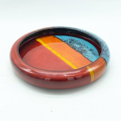 Centerpiece / coin tray in colored glossy glazed ceramic, Florence 1970 signed
