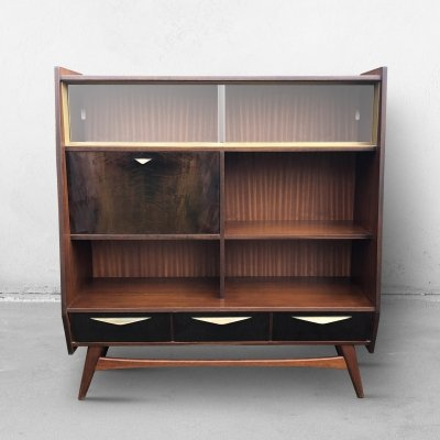Mid Century Vintage Highboard with Glass, 1950s
