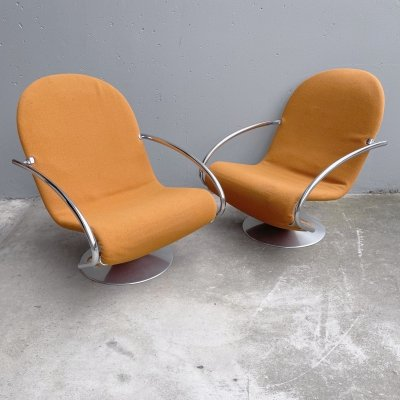 2 x 1-2-3 lounge chair by Verner Panton for Fritz Hansen, 1970s