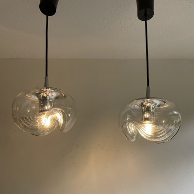 Pair of Wave hanging lamps by Peill & Putzler, 1970s