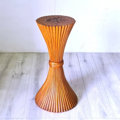 Rattan sheaf of wheat side table by McGuire, 1970s