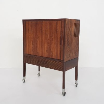 Small rosewood audio or bar cabinet marked Chr. J, Denmark 1950s