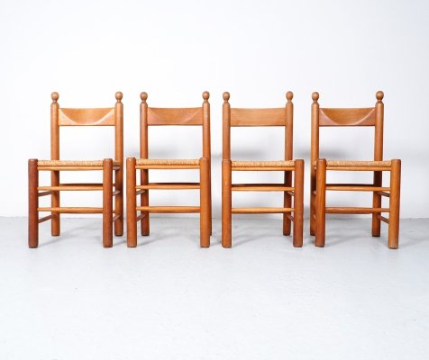 Vintage oak dining chairs with wicker seat, 1970's
