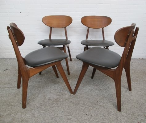 Set of 4 dining chairs by Louis van Teeffelen for Webe, 1960s