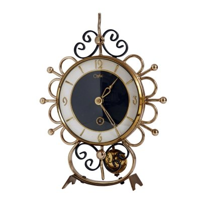 Mid Century Metal winding vintage fireplace clock by Orfac, Netherlands, 1950s