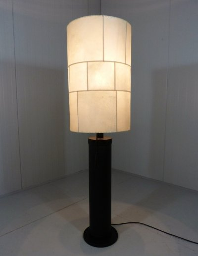 Large leather floor lamp by Charlotte Waver Germany, 1970's