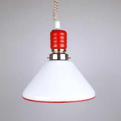 Retro red & white pendant lamp in glass & wood, Italy 1970s