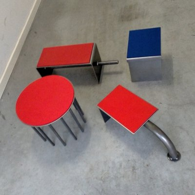 4 different design stools from Hermann Becker, 1980s