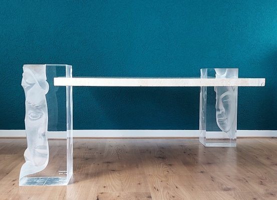 Sculptural Acrylic & Travertin Coffee Table by FabianArt Italy, 1980s