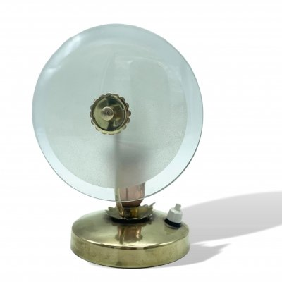 Italy 1950s bedside lamp in brass & round frosted glass