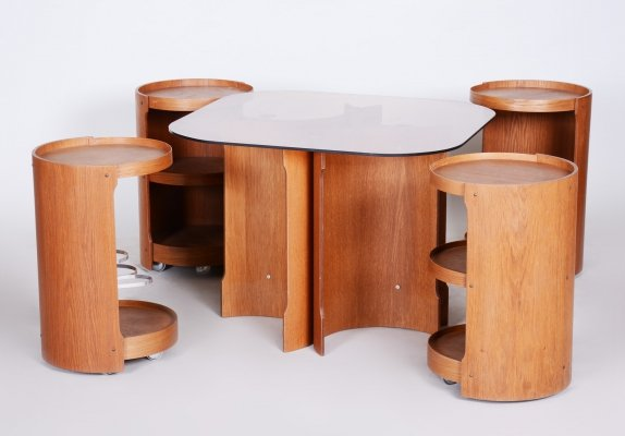 Small Conference Table in Oak & Black Glass, Czech 1960s