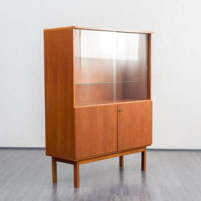 Teak highboard with display cabinet, 1960s