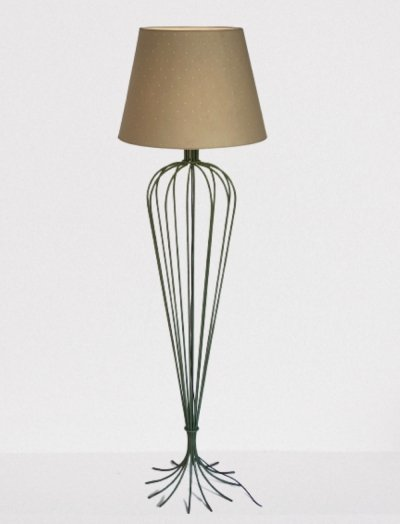 Very large & tall floor lamp in wrought iron & bespoke lampshade