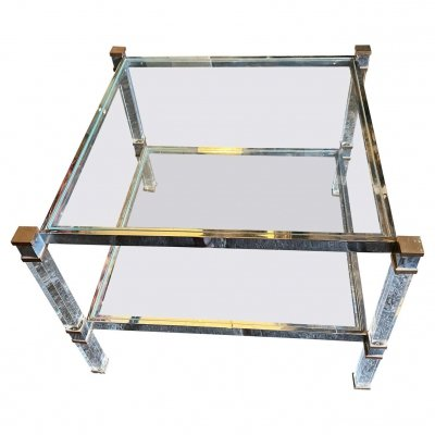 1970s Mid-Century Modern Lucite & Brass Square Italian Coffee Table
