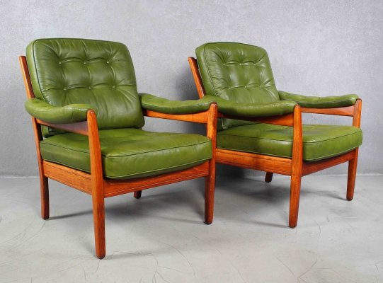 Pair of Swedish Leather & Rosewood Lounge Chairs by Gote Mobler, 1970s