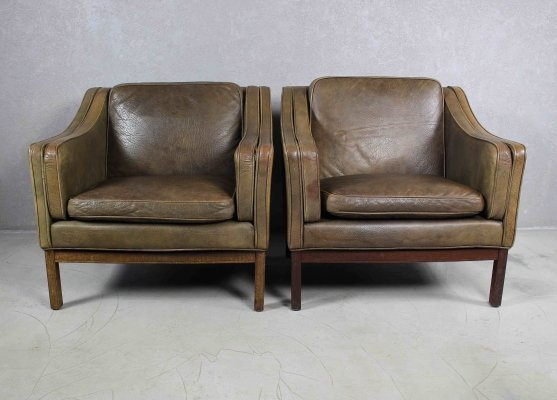 Scandinavian Leather And Rosewood Lounge Chairs by Vatne Møbler, Norway 1970s