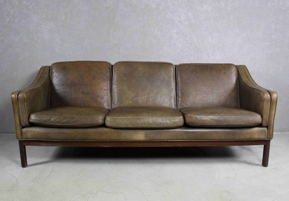 Brown Leather And Rosewood Sofa by Vatne Mobler, Norway 1970s
