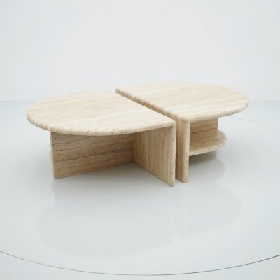 Pair of Large Twin Coffee or Side Tables in Italian Travertine, 1970s