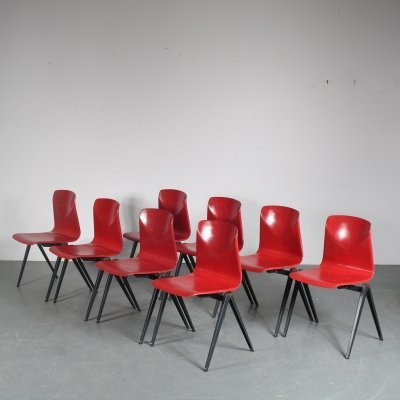 Stock of 'S22' stacking chairs by Galvanitas, Netherlands 1970s