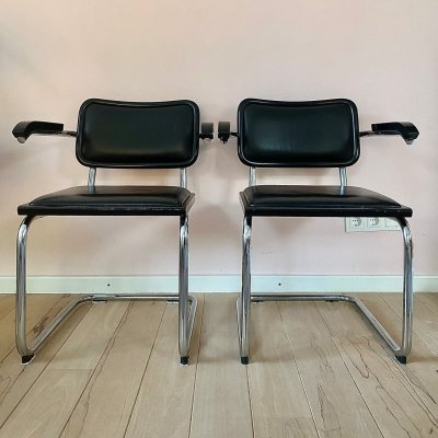 Pair of B32 arm chairs by Marcel Breuer for Fasem, 1980s
