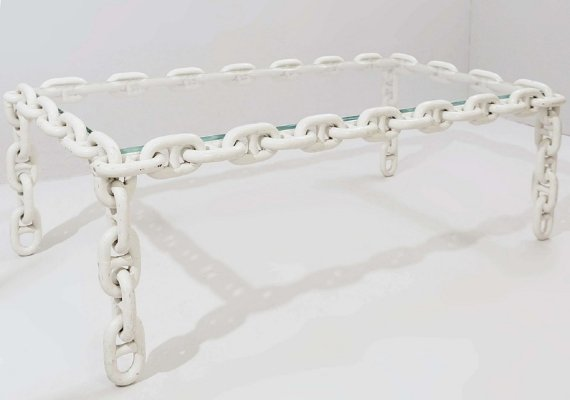 Large Chain Link Coffee Table in White Enameled Iron, Belgium 1970