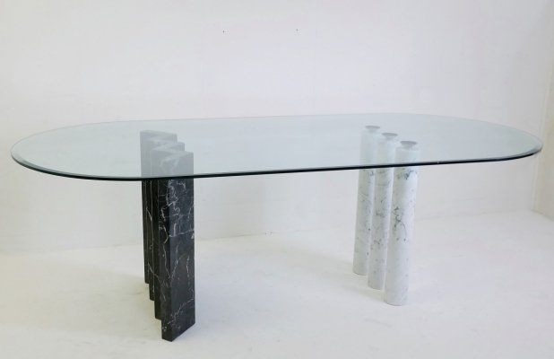 Black & white marble & Glass Top Dining Table, 1970s