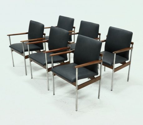 Set of 6 Dining Chairs by C. Denekamp for Thereca, 1970s