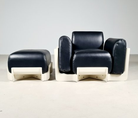 Rare model Duna chair with ottoman for 1P Italy, 1960s