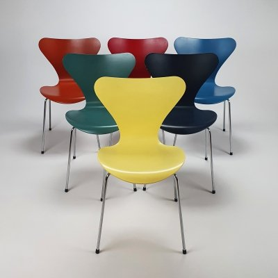 Set of 6 Serie 7 dining chairs by Arne Jacobsen for Fritz Hansen, 1990s