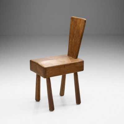 Mid-Century Brutalist Solid Oak Chair, France 1960s