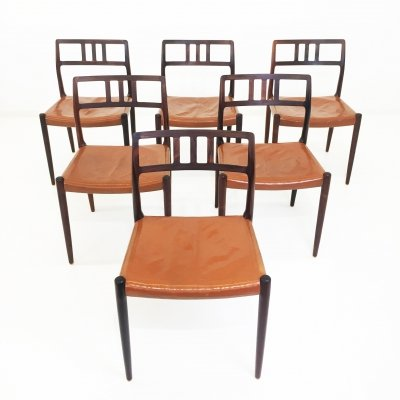 Niels Otto Moller model 79 rosewood & leather dining chairs