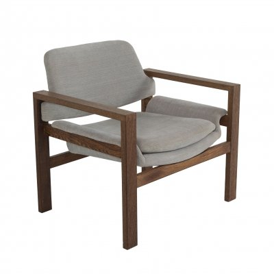 Minimalist Arm Chair in Wood & Fabric, The Netherlands