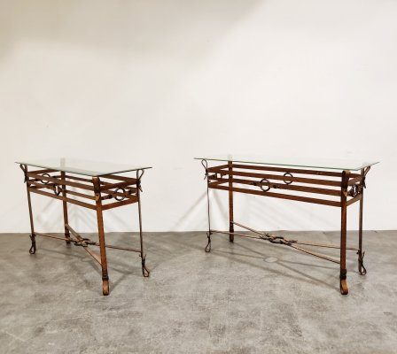 Mid century faux leather console tables, 1960s